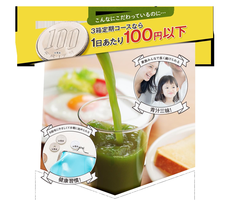 こんなにこだわっているのに…3箱定期コースなら、1日当たり100円以下 家族みんなで長く続けられる青汁三昧!お財布にやさしくて手軽に始められる健康習慣!