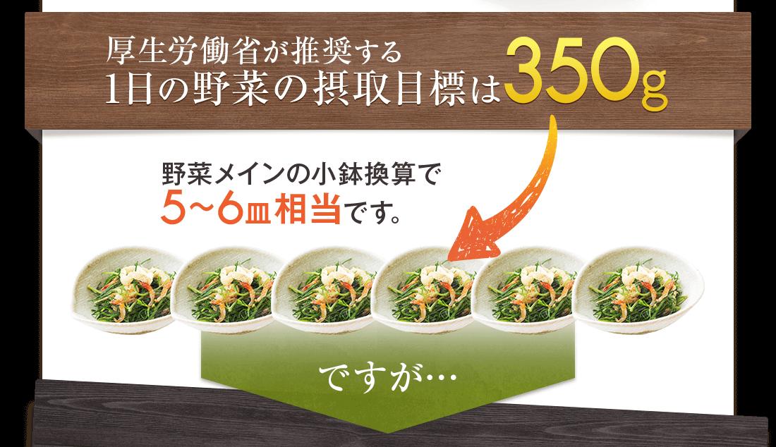 厚生労働省が推奨する一日の野菜の摂取目標は350g。野菜メインの小鉢換算で5〜6皿相当です。ですが…