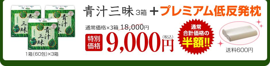 青汁三昧3箱+プレミアム低反発枕 特別価格9,000円 送料600円