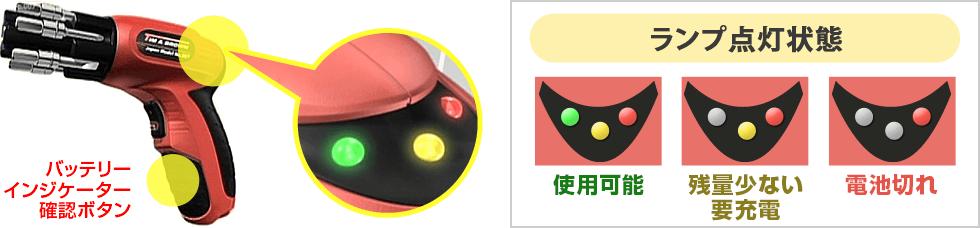 バッテリーインジケーター確認ボタン ランプ点灯状態 緑・黄・赤:使用可能/黄・赤:残量少ない要充電/赤のみ:電池切れ