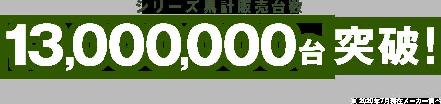 シリーズ累計販売台数 12,000,000台 突破! ※ 2017年10月末日 メーカー調べ