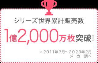 シリーズ累計販売数 8,000万枚突破! ※2011年3月〜2015年12月メーカー調べ