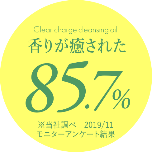 Clear charge cleansing oil 香りが癒された...85.7% ※当社調べ 2019/11 モニターアンケート結果