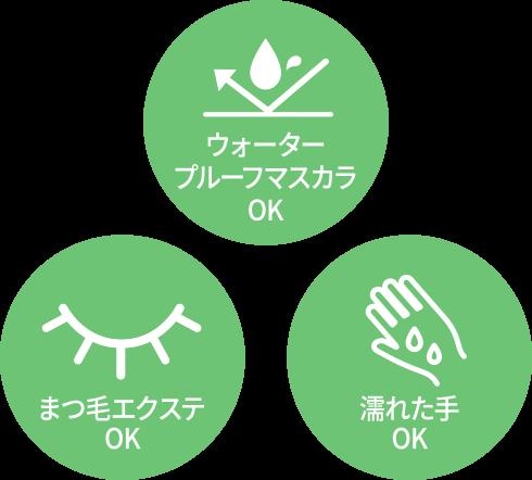 ウォータープルーフマスカラOK / まつ毛エクステOK / 濡れた手OK