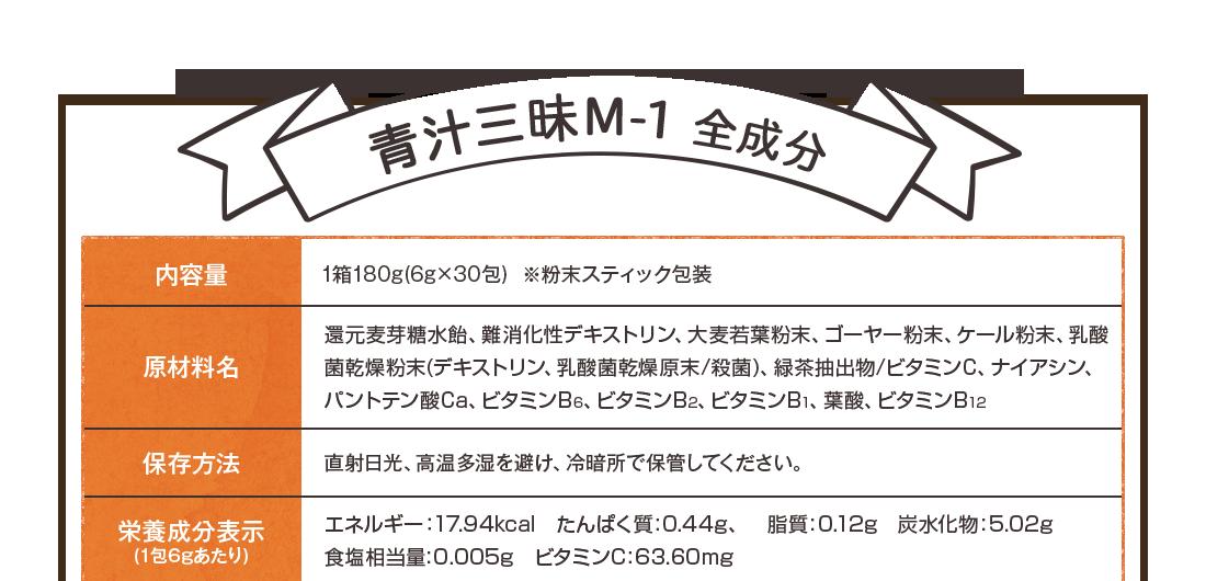 青汁三昧M-1全成分