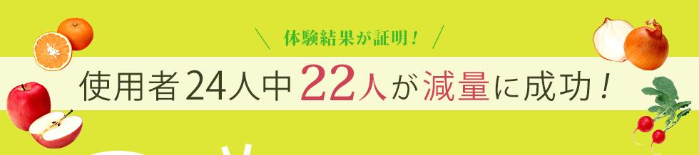 体験結果が証明! 使用者24人中22人が減量に成功!