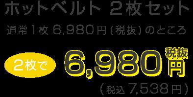 ホットベルト2枚セット 通常1枚6980円(税抜)のところ 2枚で6980円(税抜) (税込7538円)