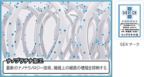 SEKマーク / [ナノプラチナ加工]最新のナノテクノロジー技術、繊維上の細菌の増殖を抑制する