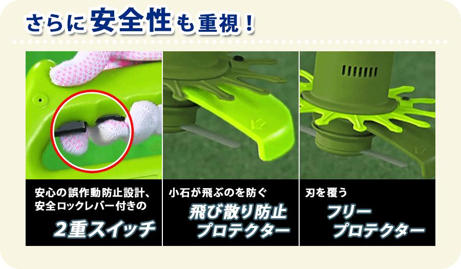 さらに安全性も重視!・安心の誤作動防止設計、安全ロックレバー付きの2重スイッチ・小石が飛ぶのを防ぐ飛び散り防止プロテクター・刃を覆うフリープロテクター