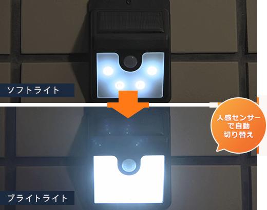 人感センサーで自動切り替え ソフトライト/ブライトライト