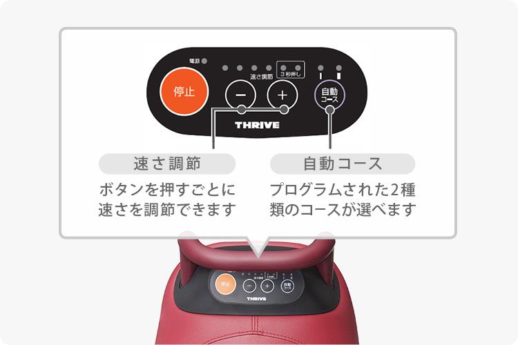 速さ調節:ボタンを押すごとに速さを調節できます 自動コース:プログラムされた2種類のコースが選べます